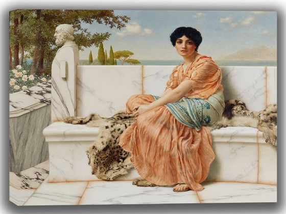 John William Godward: Reverie (In the Days of Sappho). Fine Art Canvas. Sizes: A4/A3/A2/A1 (004050)